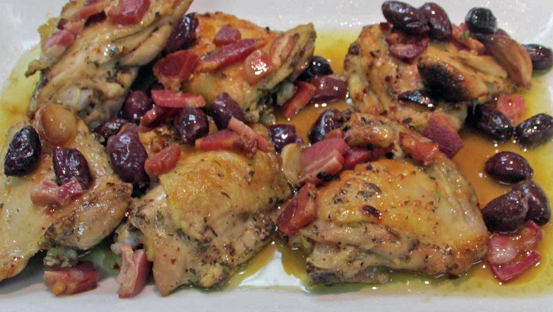 Roasted Chicken with Pancetta and Olives