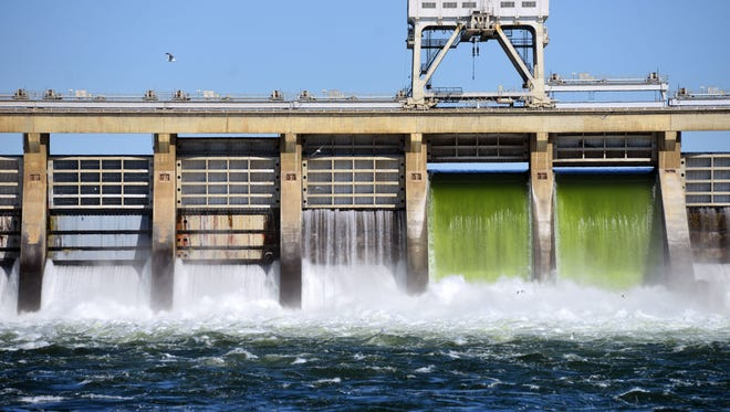 Water falling over two of the spillways at the McNary Dam