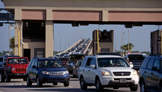 Traffic backs up on the Bob Sikes Bridge during June's Blue Angels Pensacola Beach air show.