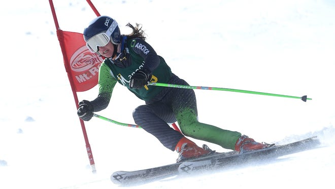 Bishop Manogue's Gigi Taylor races to victory in the giant slalom during the NIAA ski racing championships at Mt. Rose Ski Tahoe.