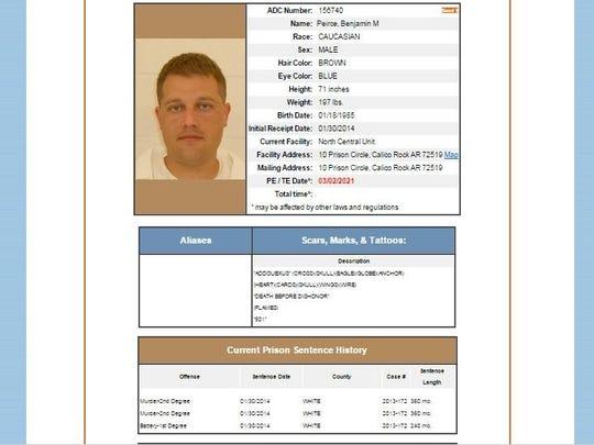 State prison information sheet on Benjamin Peirce.