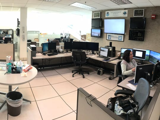 The National Weather Service office at Burlington International Airport in South Burlington is seen in October 2017 in this panoramic photo.