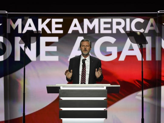 Jerry Falwell Jr., President of Liberty University, speaks during the 2016 Republican National Convention at Quicken Loans Arena.