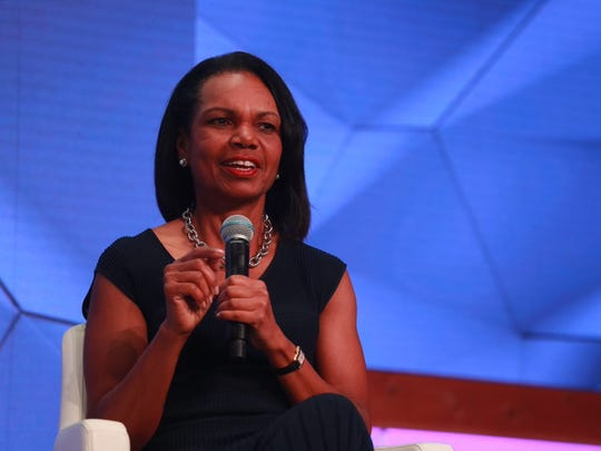 Dr. Condoleezza Rice addresses the audience at the