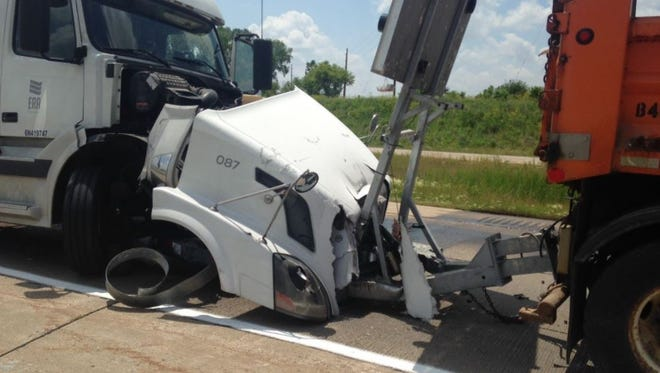 A semi truck rear-ended an Iowa Department of Transportation vehicle on Interstate Highway 380 near Brandon in Buchanan County on Tuesday, June 13, 2017,the DOT said.