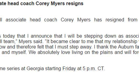 Auburn assistant softball coach Corey Myers released