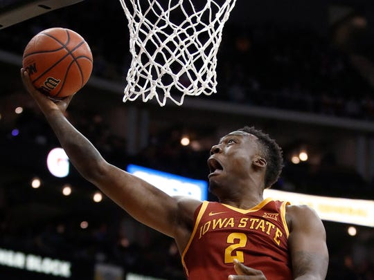 Iowa State's Cameron Lard shoots during the first half