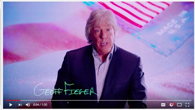 Michigan attorney Geoffrey Fieger appears in a television commercial featuring patriotic hues and messages and biting barbs against Republican President-elect Donald Trump. Still image from a YouTube video of the commercial.
