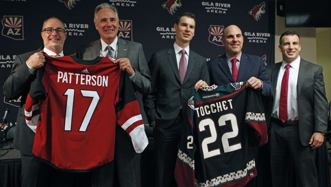 Coyotes owner, Andrew Barroway, new CEO Steve Patterson, GM John Chayka, new head coach Rick Tocchet and COO Ahron Cohen (left to right) at Tocchet's introductory press conference at Gila River Arena in Glendale, Ariz. on July 13, 2017