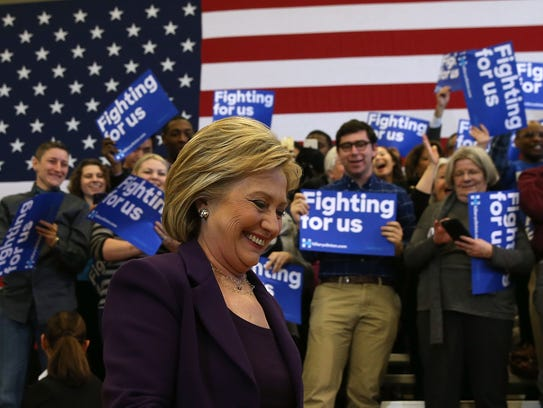 """Hillary Clinton arrives for a """"get out the vote"""" event"""
