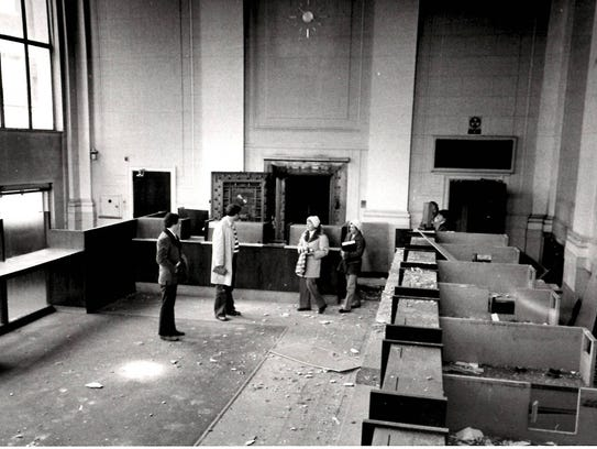 Local preservationists tour the building in 1977.