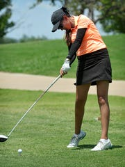 Alison Gastelum of Chihuahua, Mexico shared the lead going into the second round of play in the Texas-Oklahoma Junior Golf Championship Tuesday at the Champions Course at Weeks Park.