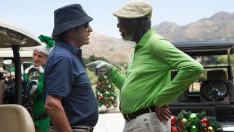"This image released by Broad Green Pictures shows Tommy Lee Jones, left, and Morgan Freeman in a scene from ""Just Getting Started."" (Lewis Jacobs/Broad Green Pictures via AP)"