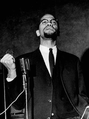 Malcolm X speaks at Corn Hill Methodist Church in Rochester, N.Y., on Feb. 16, 1965, just five days before his death on Feb. 21, 1965.