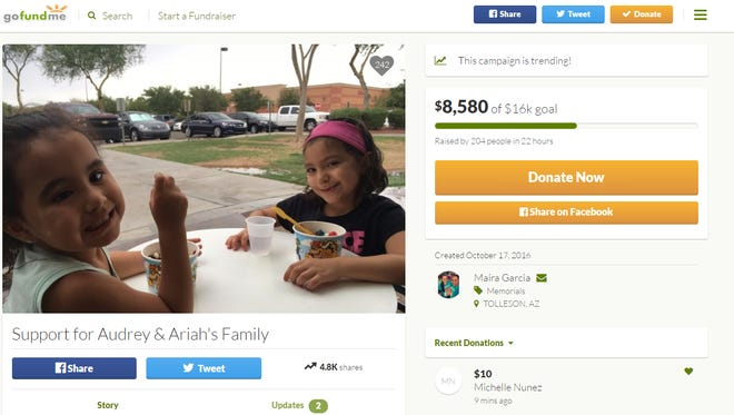 4-year-old Ariah Arismendez and 5-year-old Audrey Arismendez died Sunday night.