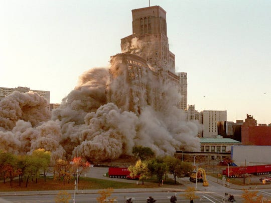 The implosion of the J.L. Hudson department store in