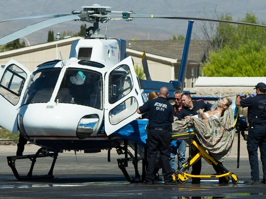 A male victim airlifted to an El Paso hospital on Monday, March 21, 2016, after being stabbed at the Imperial Sky Motel located on West Picacho Ave.