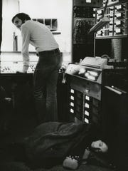 Joan Baez, right, and Norbert Putnam record at Quadrophonic Studios in the early 1970s.