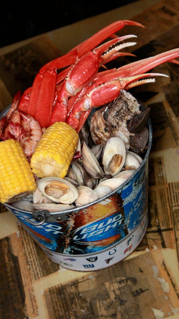 The Shuckin' Shack specializes in fresh seafood like clams, oysters, shrimp and crab legs.