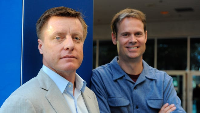 1/7/2015 -- Las Vegas, NV, U.S.A  -- CES 2015.Mike Herring (left)  and Tim Westergren, Chief Strategy Officer & Founder of Pandora. Photo by Tim Loehrke, USA TODAY staff