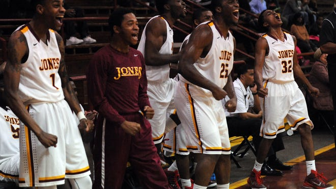 Jones County Junior College players react during a game against Itawamba at Jones County Junior College last week.