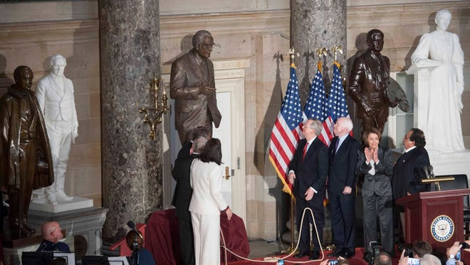 A statue of former Arizona senator and Republican presidential candidate Barry Goldwater is dedicated on Wednesday, Feb. 11, 2015, in the National Statuary Hall at the U.S. Capitol in Washington.