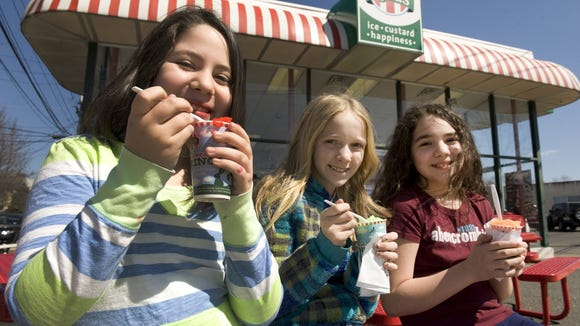 Oaklyn residents (from left) Isabella Romero, 10, Paige Arnold, 12, and Angelina Romero, 11, enjoy water ice from Rita's in Haddon Township last year on the first day spring.
