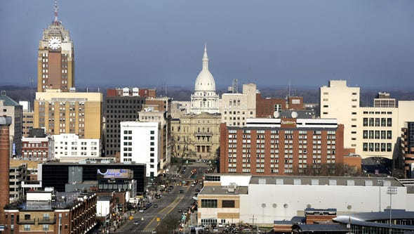 Downtown Lansing as seen from the roof at Sparrow Hospital