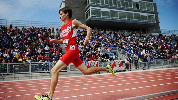 Lincoln's Nathan Schroeder runs the sprint medley event during last year's Dakota Relays at Howard Wood Field.