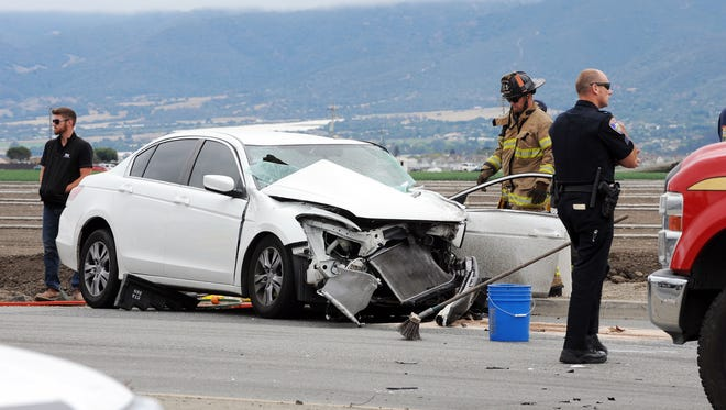 One of the two vehicles involved in a serious crash on Tuesday in Salinas at the intersection of S. Main and Blanco.