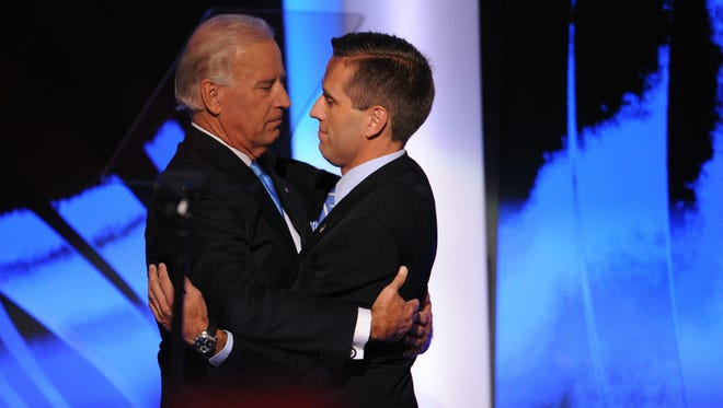 Vice President Joe Biden, shown with Beau Biden at the Democratic National Convention in 2008.