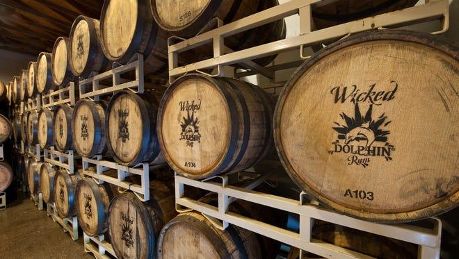 Rum barrels at Wicked Dolphin Rum Distillery.