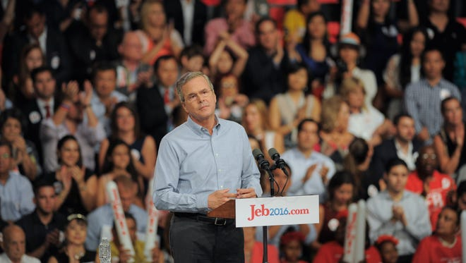 Jeb Bush declared his candidacy for president in Miami yesterday.