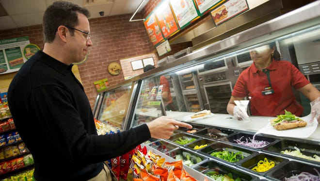 Subway spokesman Jared Fogle ordering a Subway sandwich for lunch at the Tysons Center Mall subway location in Tysons Corner, Va., February 2013.