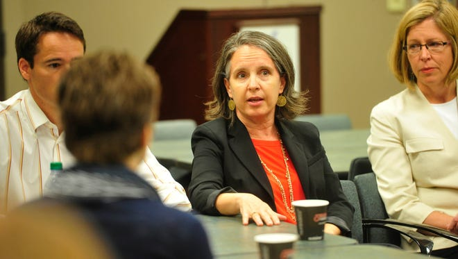 Gini Pupo-Walker speaks during a Project RESET meeting hosted by the Tennessean at the Nashville Chamber in downtown Nashville, Tenn. May 21, 2015.