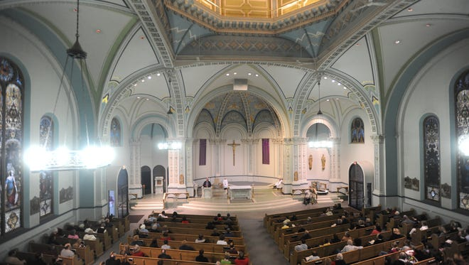 The awe-inspiring view from the balcony at St. Nicholas during a 2015 Ash Wednesday service. St. Thomas Aquinas, which also holds yearly Ash Wednesday services in Zanesville, will offer a livestream of its 7 p.m. service.