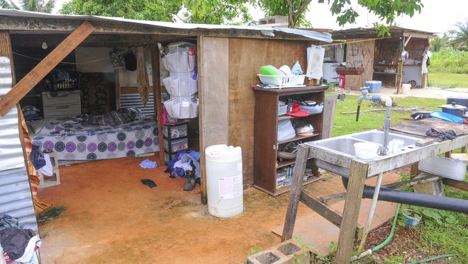 Temporary wood and tin structures, that can be seen being open to the elements, serve as the sleeping quarters, left, and an cooking area for Bridgette Cruz, her 17-month-old son and other family members on a property in Dededo on Thursday, Aug. 13.