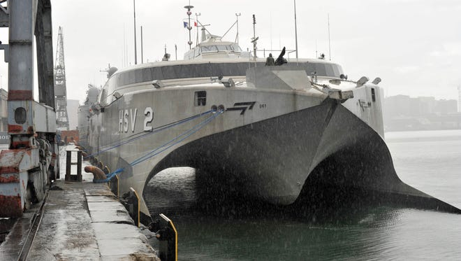High Speed Vessel Swift (HSV 2) is shown arriving in Dar Es Salaam, Tanzania, for a port visit in this June, 23, 2012 U.S. Navy photo by Petty Officer 1st Class Martin Wright.