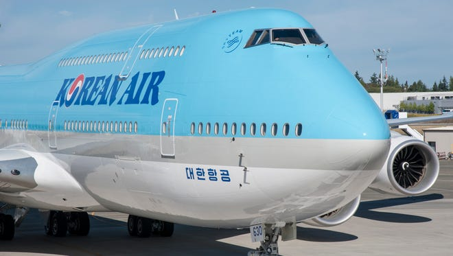 Korean Air's first 747-8i is seen ahead of a Aug. 25, 2015, delivery ceremony in Everett, Wash.