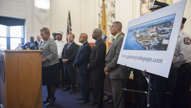 Mayor Dana L. Redd outlines the City of Camden's plans for the upcoming visit by Pope Francis during a press conference in Camden City Council Chambers. Wednesday.