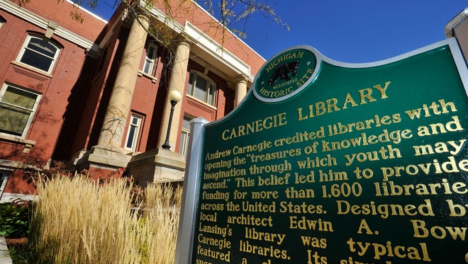 A state  historical marker now marks the exterior  at the LCC Carnegie Library in   Lansing Rod Sanford)