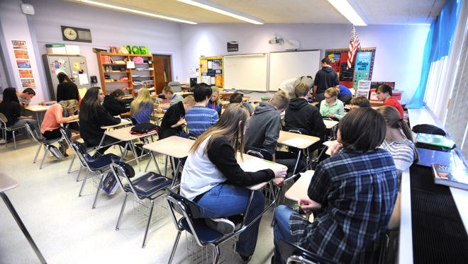 Talks are in the works about creating a Mayville/Horicon School District. Mayville students are shown studying in class in this January 2015 photo.