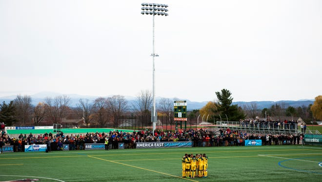 Vermont huddles together before the start of the America East men's soccer championship game between the Binghamton Bearcats and the Vermont Catamounts at Virtue Field on Sunday afternoon November 15, 2015 in Burlington.