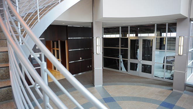 The entryway of the Courthouse Square Building, including the doorway to what will be the first floor of the KSFY offices located in downtown Sioux Falls Wednesday, Nov. 25, 2015.