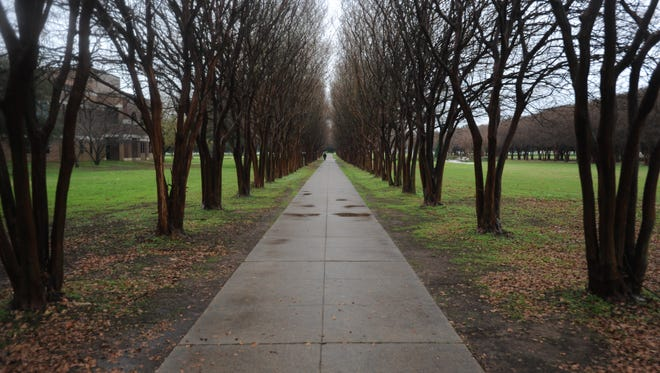 A long, covered pathway leads to LSU Shreveport's campus, located just inside of District 6.