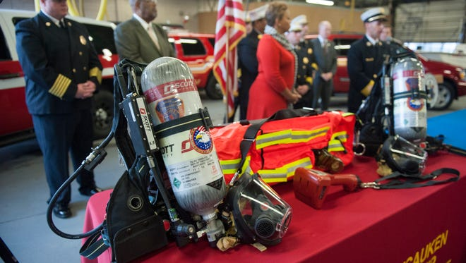 Officials talk about the joint $1.7M grant awarded to upgrade equipment including self contained breathing apparatus for the Camden, Collingswood, and Pennsauken fire departments. Wednesday, December 23, 2015.