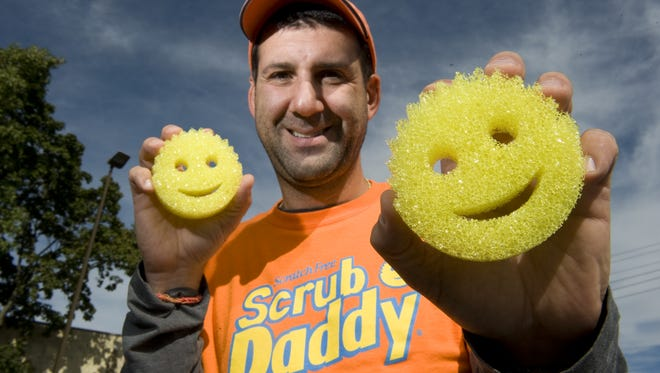 Voorhees resident Aaron Krause, inventor of the Scrub Daddy, cleaning sponge.  Wednesday, September 25, 2013.