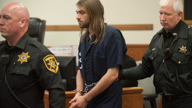 David Creato, Jr., 22, charged with first-degree murder and second-degree endangering the welfare of a child in the death of his 3-year-old son Brendan Creato, appears for his arraignment in Camden County Superior Court in Camden. Tuesday, January 12, 2016.