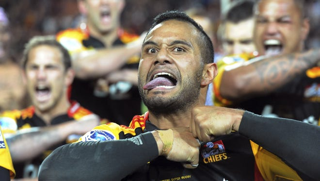 Chiefs' Lelia Masaga performs a haka dance with teammates after they won the Super Rugby final Saturday in Hamilton, New Zealand.  AP/ross setford Chiefs' Lelia Masaga performs the haka with his teamates after the team defeated the Brumbies during the Super Rugby Final match at Waikato Stadium in Hamilton, New Zealand, Saturday, Aug. 3, 2013. (AP Photo/SNPA, Ross Setford) NEW ZEALAND OUT