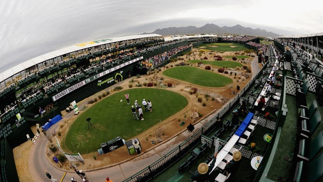 A view of the 16th hole of the Waste Management Phoenix Open at TPC Scottsdale.
